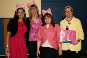 Students love seeing the grade 2 teachers reenact the story of Small Florence: Piggy Pop Star to present the confidence trait at assembly.